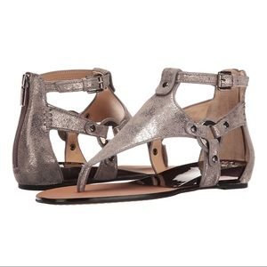 Vince Camuto Averie Wedge Sandal in Metal Grey